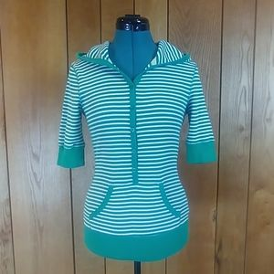 EUC Sonoma Green White Button Up Knit Hoodie Top S